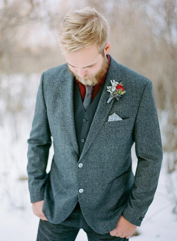 Elegant Winter Groom's Wedding Style Inspiration