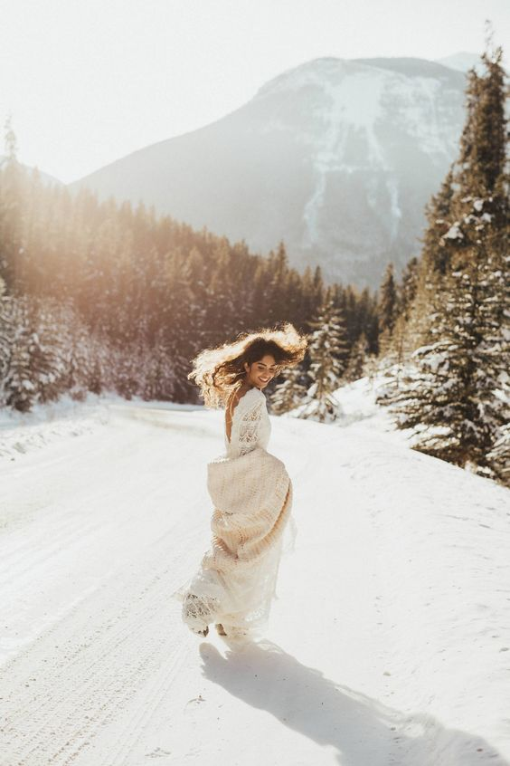 go for gorgeous wedding portraits on the mountain where you love to snowboard
