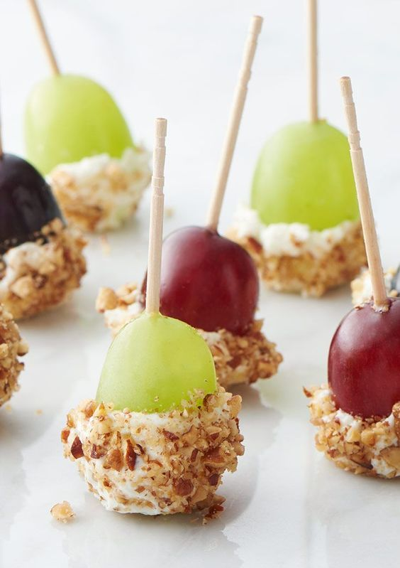 goat cheese dipped grapes on skewers are timeless Valentine wedding appetizers and they will fit many other occasions, too