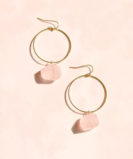 gold hoop earrings with rose quartz are fantastic for brides and bridesmaids