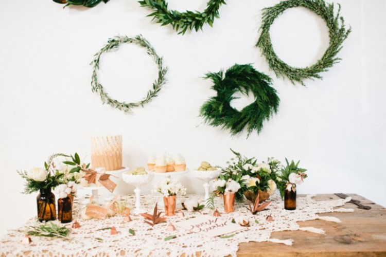 Green And Copper Christmas Bridal Party Inspiration