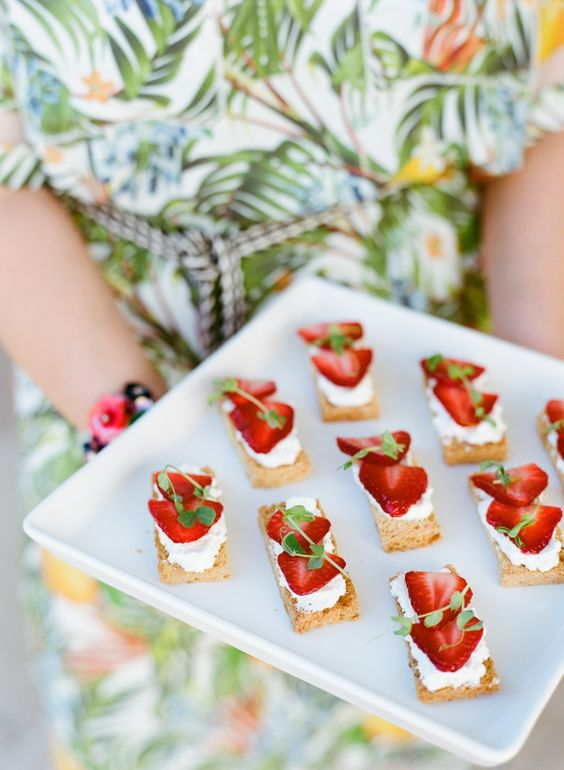 mini strawberry sandwiches with cream cheese and fresh herbs are amazing for Valentine weddings