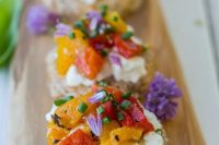 mini tarts with cream cheese, fresh veggie salad and herbs and blooms are romantic and cute Valentine wedding appetizers