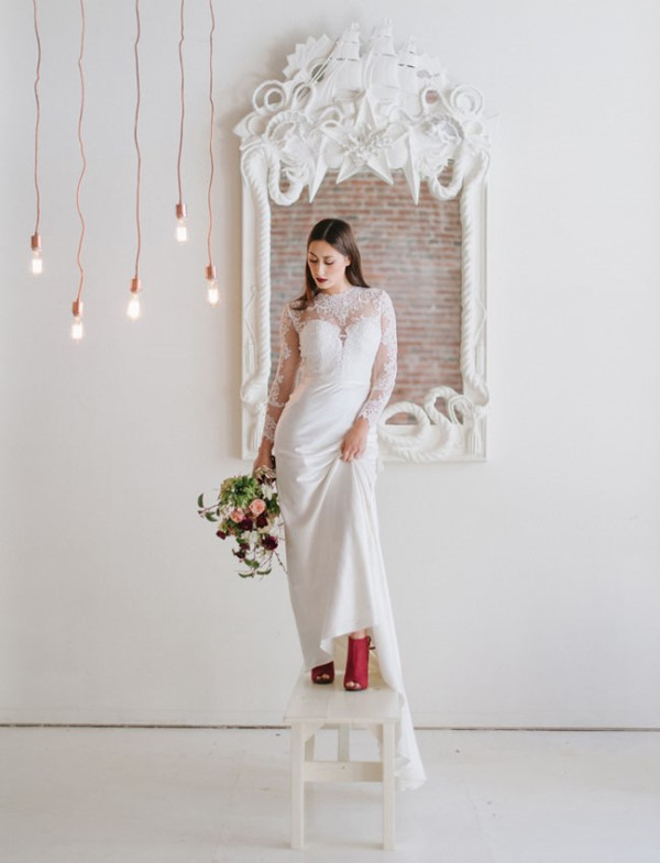 Picture Of modern marsala wedding inspiration in the industrial loft  1