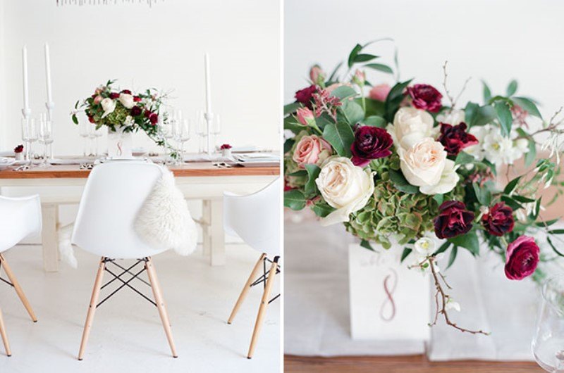 Picture Of modern marsala wedding inspiration in the industrial loft  13