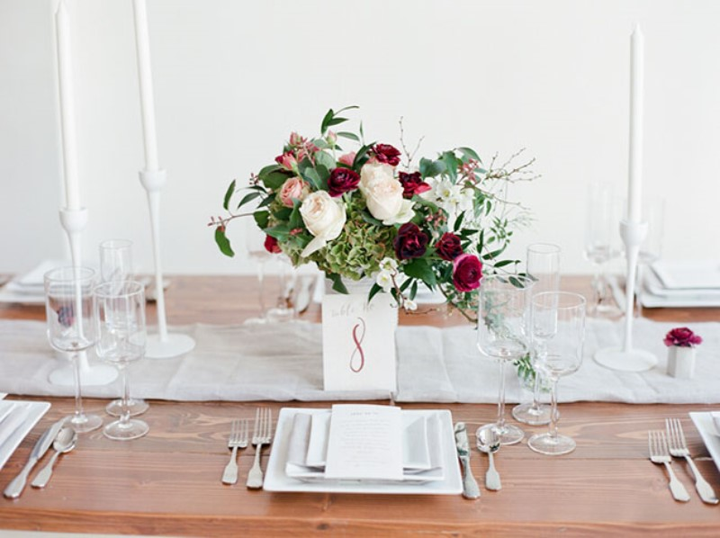 Picture Of modern marsala wedding inspiration in the industrial loft  14