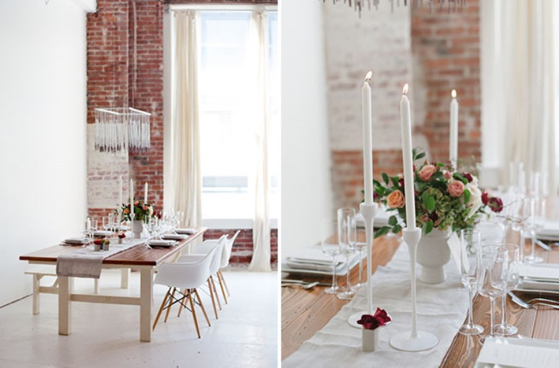 Picture Of modern marsala wedding inspiration in the industrial loft  15