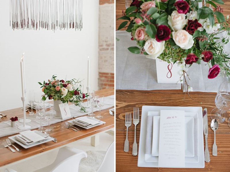 Picture Of modern marsala wedding inspiration in the industrial loft  17