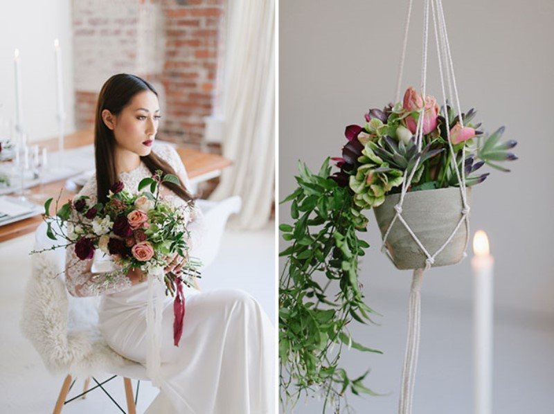 Picture Of modern marsala wedding inspiration in the industrial loft  18