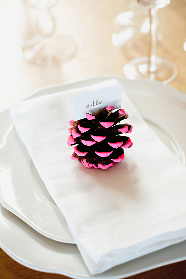 DIY Neon Pine Cone Place Cards (via camillestyles)