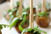 peach-dijon glazed turkey meatballs with arugula are delicious Valentine appetizers to go for