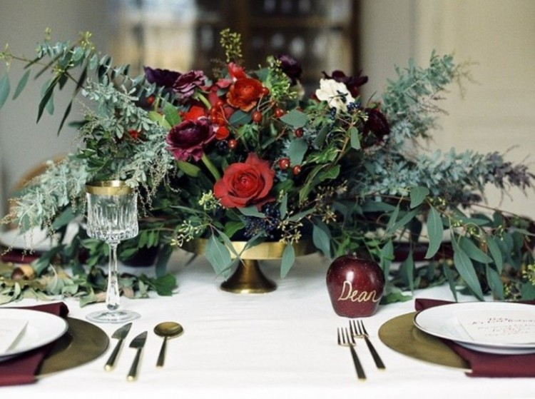 Red, Green And Gold Fairytale Christmas Wedding Inspiration