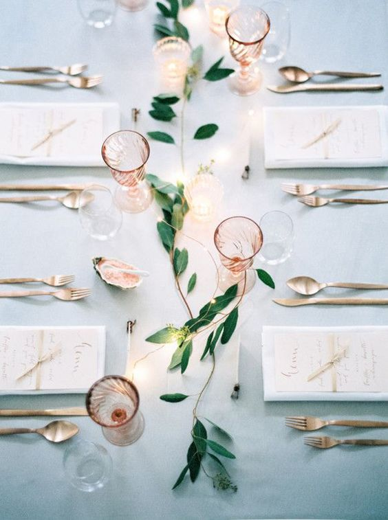 rose quartz glasses, blush stationery and pink Himalayan salt served in a seashells for a beautiful rose quartz wedding