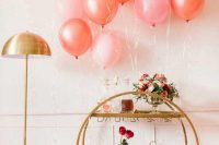 style your home with pink and peachy balloons, decorate your bar with blooms and offer your favorite drinks for Valentine's Day