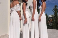 girlish mismatching white bridesmaid jumpsuits with lace tops and wideleg plain pants for a summer wedding