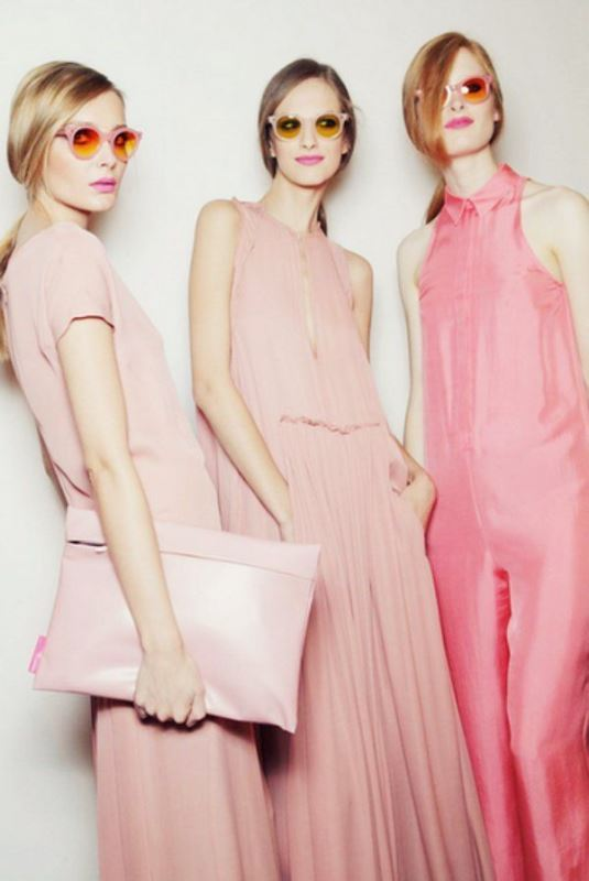 mismatching pink and blush jumpsuits with collars, pockets and wideleg pants