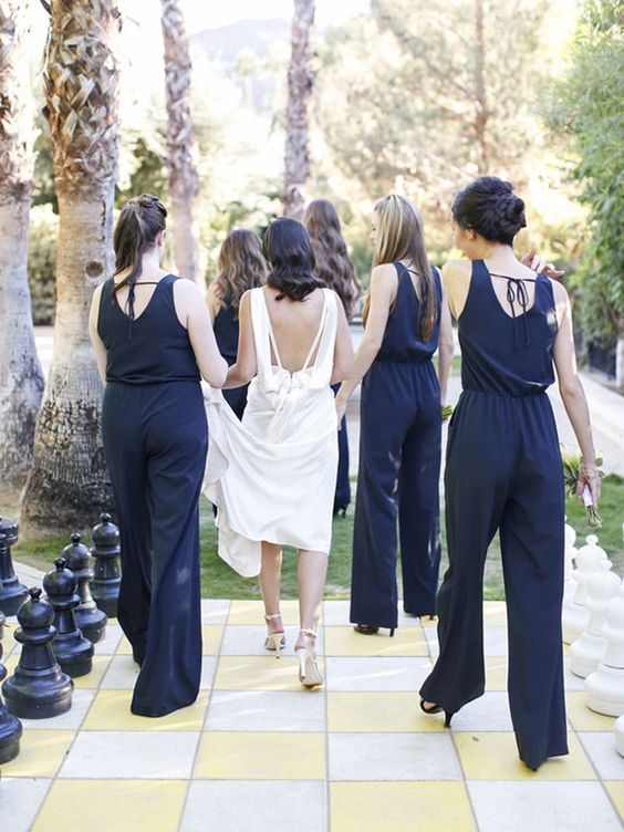 wide strap navy jumpsuits with cutout backs and ties for more comfortable wearing