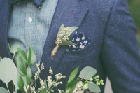 a chambray shirt, a woolen jacket and a double bow tie for a cool and bold look with a casual feel t the wedding