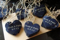 denim hearts with twine are cute and fun wedding favors that can be easily DIYed by you