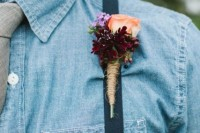a denim shirt with a neutral tie and suspenders is a cool idea for a rustic or a cowboy wedding