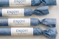 denim print wrapped wedding favors with tags are a cool idea for a relaxed rustic wedding