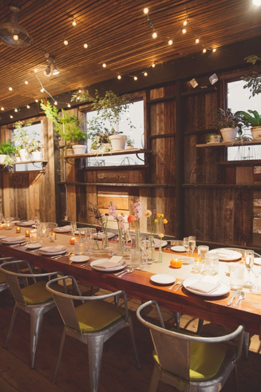 sustainable reception space decor with shelves with potted greenery and succulents, bright blooms in cluster centerpieces and lights