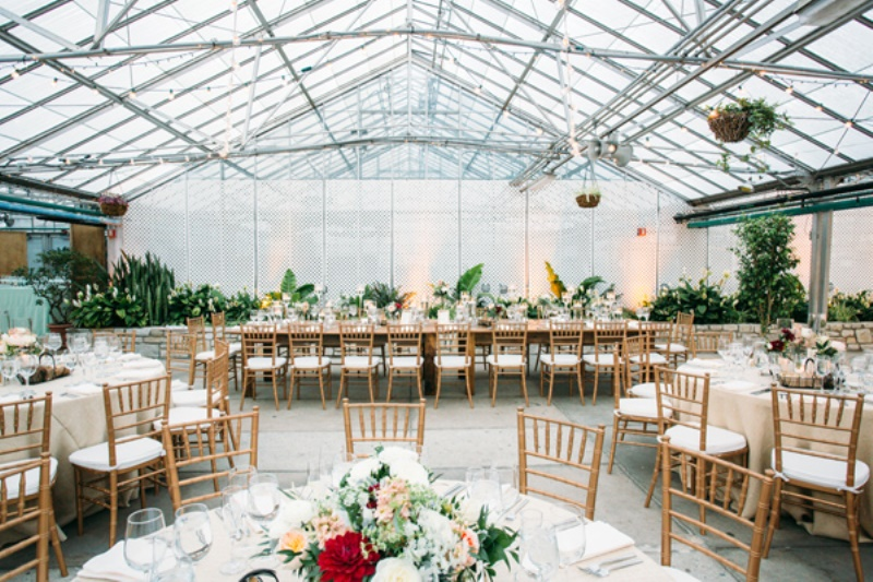 a neutral wedding reception with greenery in pots, bright floral centerpieces and leaves in vases