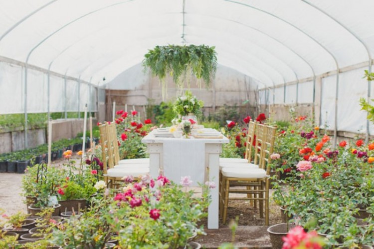 a bright wedding reception space with greenery and bright blooms in plants, a greenery chandelier and a centerpiece to make the reception very lively and fresh