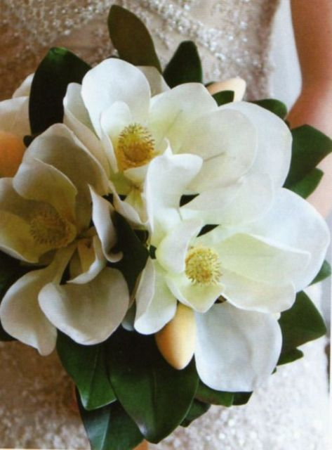 a large and simple magnolia wedding bouquet is a timeless idea for a southern bride