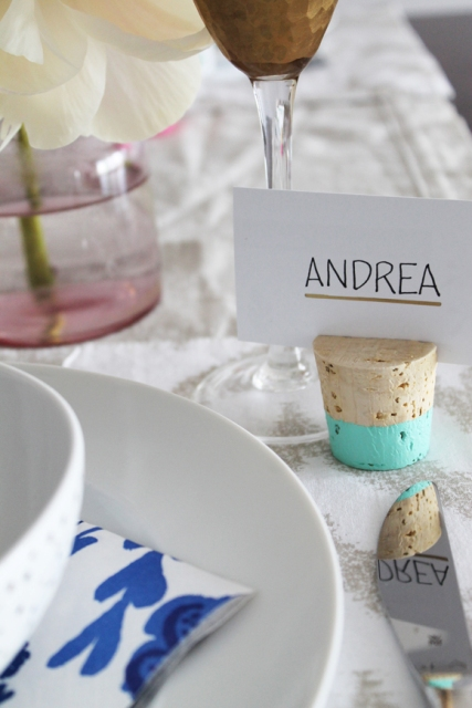 Picture Of DIY Color Dipped Cork Place Card Holders 6