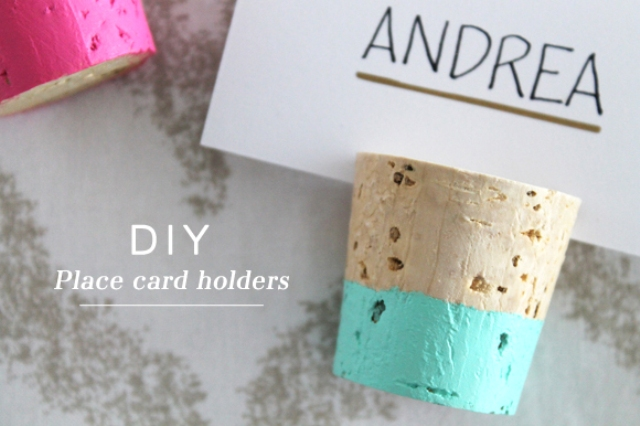 DIY Color Dipped Cork Place Card Holders