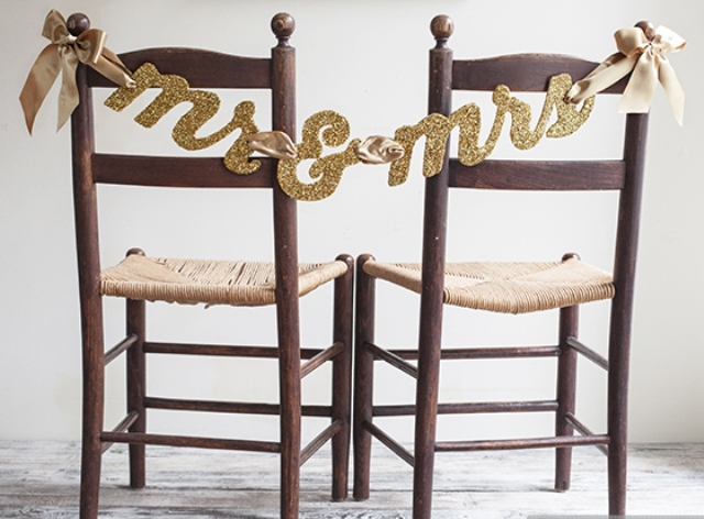 Glittery DIY Mr & Mrs Chair Banner
