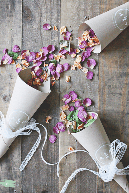 Romantic DIY Burlap And Lace Wedding Petal Cones