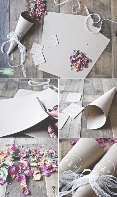 Romantic DIY Burlap And Lace Wedding Petal Cones