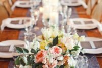 a blue enim runner and matching menus make the tablescape bright and casual at the same time