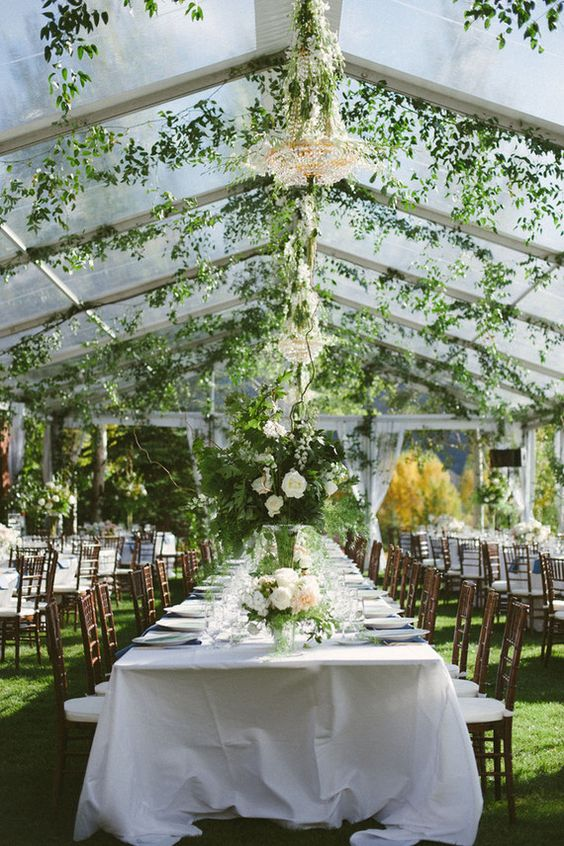 a botanical wedding venue with grass, greenery and crystal chandeliers and greenery and white blooms on the tables