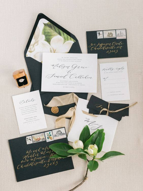 a chic wedding invitation suite in black and white, with magnolia print lining