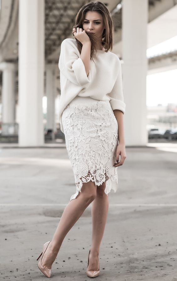 a lace pencil knee skirt with a creamy chunky knit slouchy sweater for a city hall ceremony