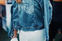 a personalized blue denim jacket is a trendy coverup and is a cool idea to make your look more relaxed