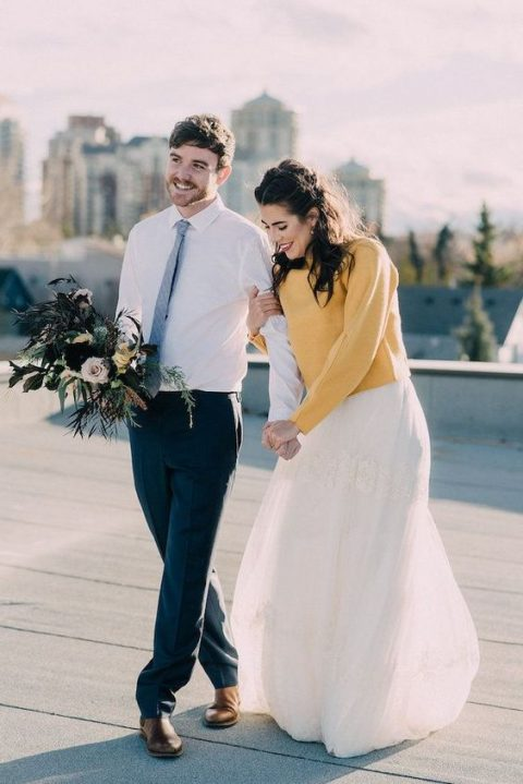 b016763709a a very cozy white fluffy angora sweater over the wedding dress looks  sophisticated. a sunny yellow sweater put on over a romantic lace wedding  dress