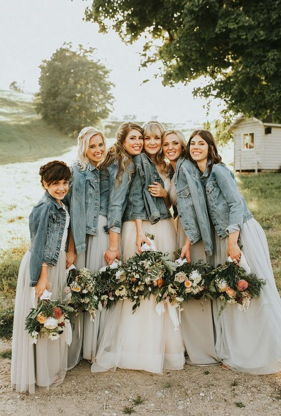 bleached denim jackets for bridesmaids and the bride herself will make the gals look chic and more relaxed