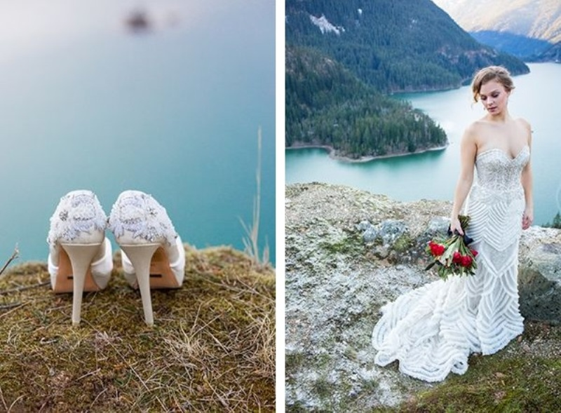 Picture Of breathtakingly beautiful cliffside bridal shoot on dablo lake  13