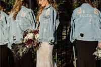 ripped and bleached blue denim jackets with painting are a cool and trendy way to cover up