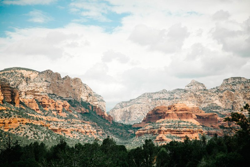 Picture Of romantic travel themed wedding in sedona  2