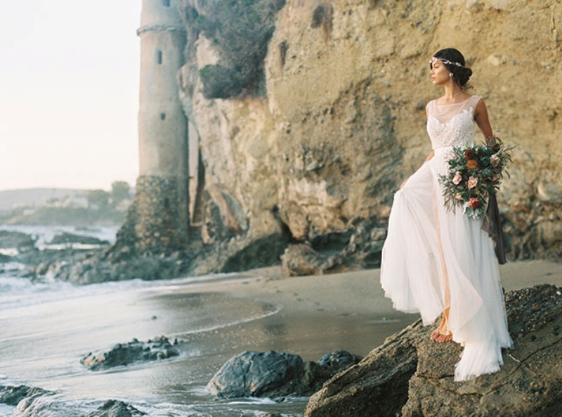 Picture Of rose quartz and serenity beachside wedding shoot  1
