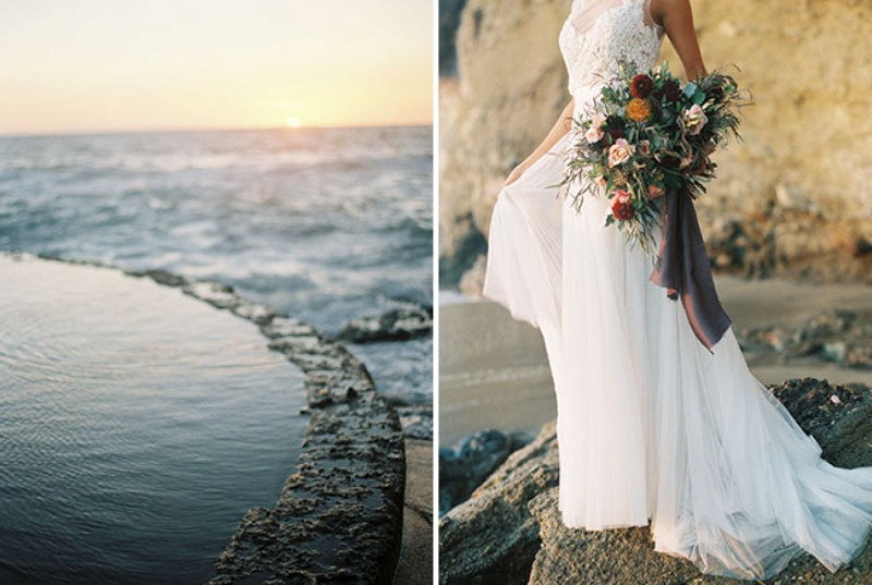 Picture Of rose quartz and serenity beachside wedding shoot  21