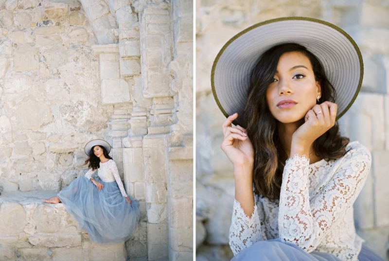 Picture Of rose quartz and serenity beachside wedding shoot  9