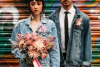 the couple wearing mismatched blue denim jackets looks chic, boho and casual at the same time