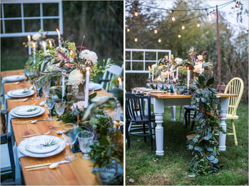 Picture Of vintage meets rustic backyard wedding inspiration  12