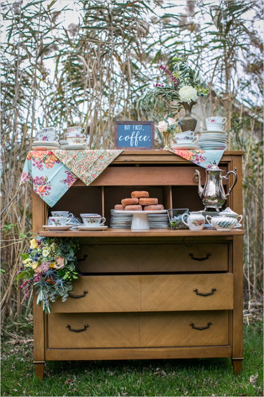 Picture Of vintage meets rustic backyard wedding inspiration  6